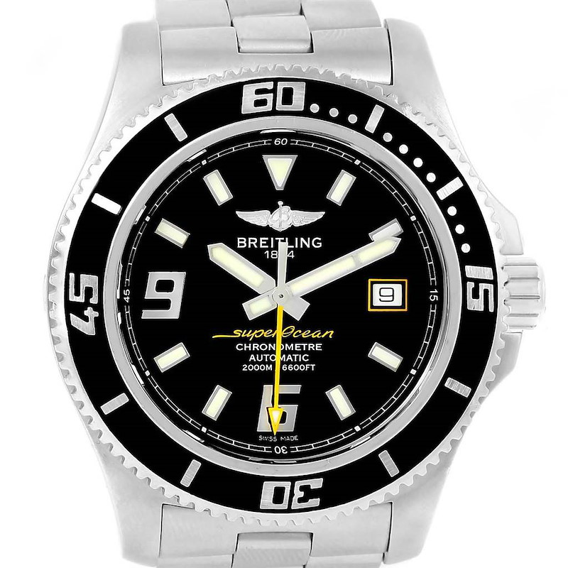 Breitling Aeromarine Superocean 44 Yellow Hand Watch A17391 Box Papers SwissWatchExpo