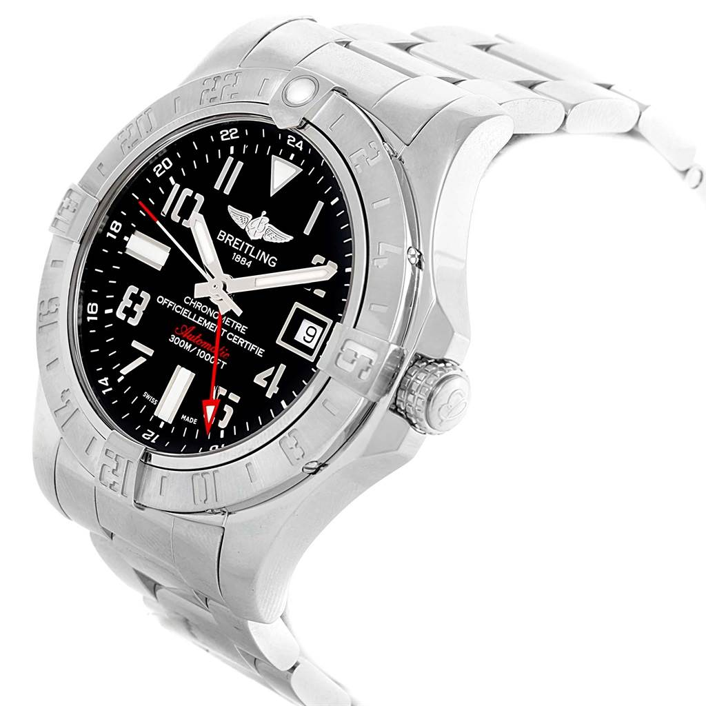 19592 Breitling Aeromarine Avenger II GMT Mens Watch A32390 Box Papers SwissWatchExpo
