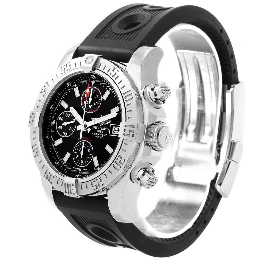 19563 Breitling Aeromarine Super Avenger Black Dial Rubber Strap Watch A13381 SwissWatchExpo