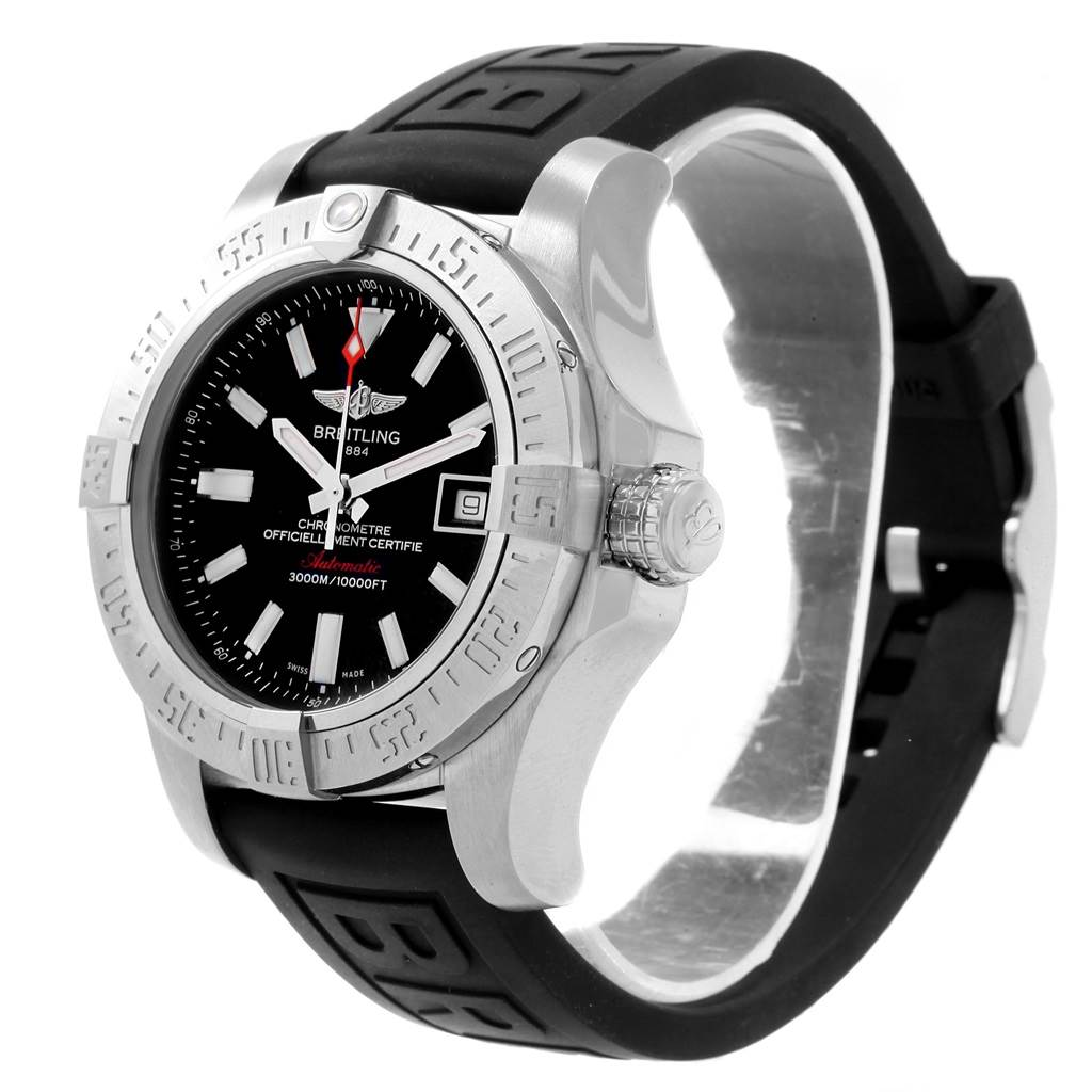 Breitling Avenger II Seawolf Rubber Strap Mens Watch A17331 Papers SwissWatchExpo