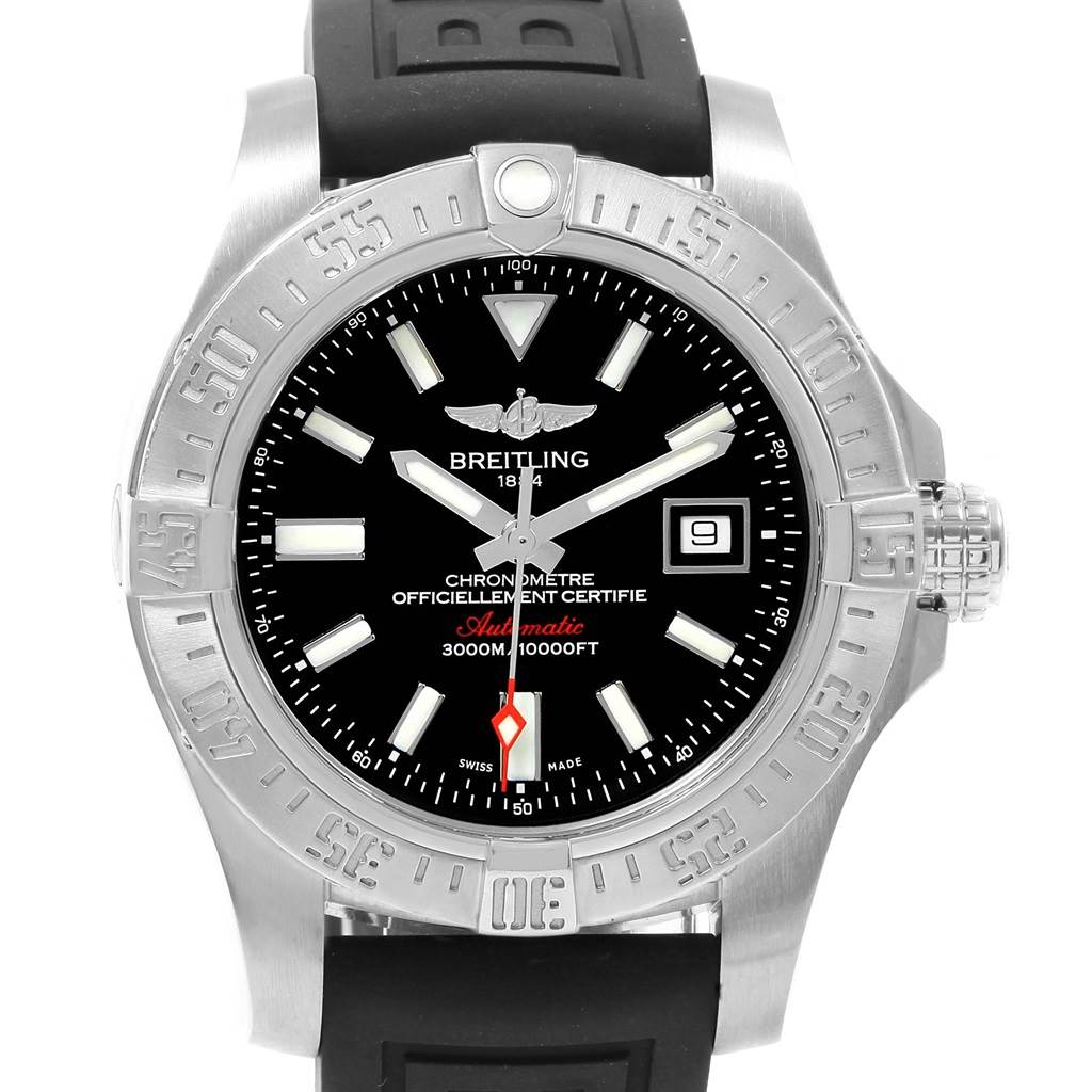 19752 Breitling Avenger II Seawolf Rubber Strap Mens Watch A17331 Papers SwissWatchExpo