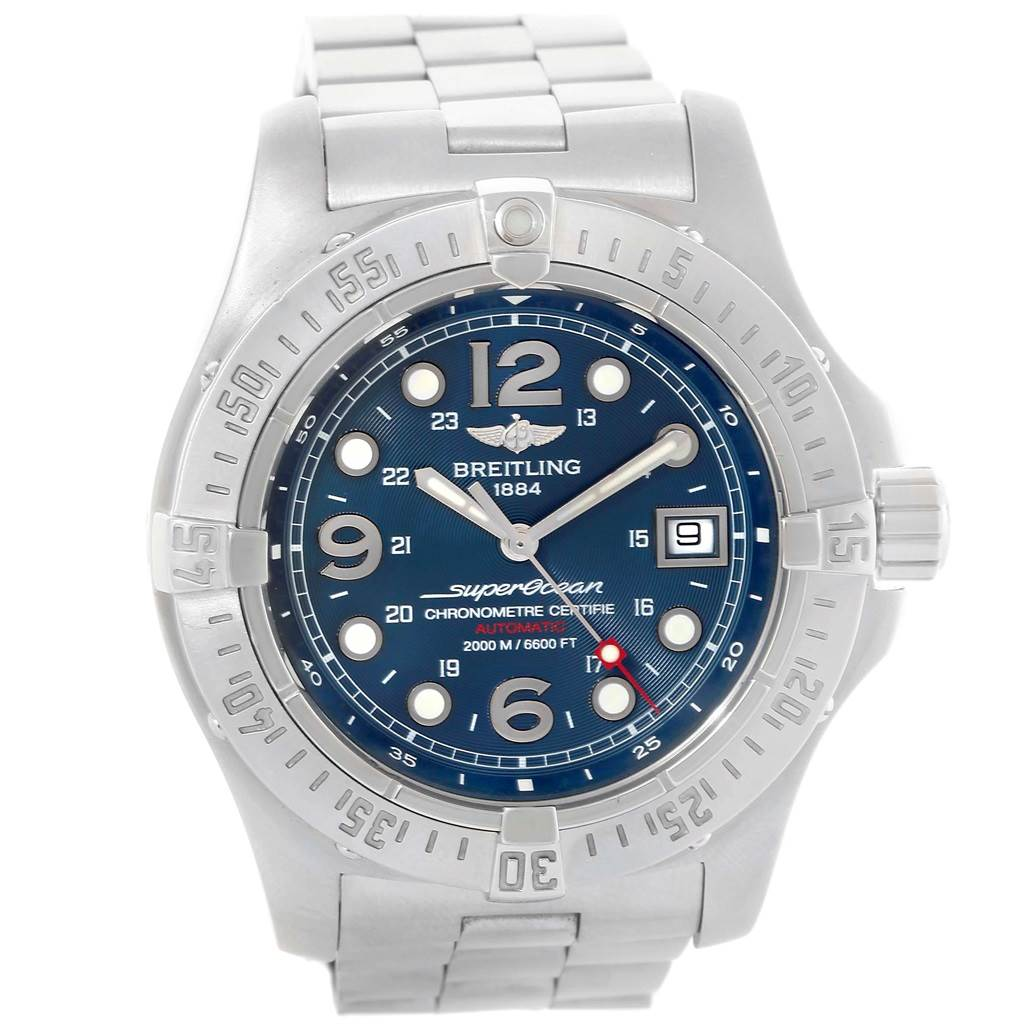 19631 Breitling Superocean Steelfish Blue Dial Mens Watch A17390 Box Papers SwissWatchExpo