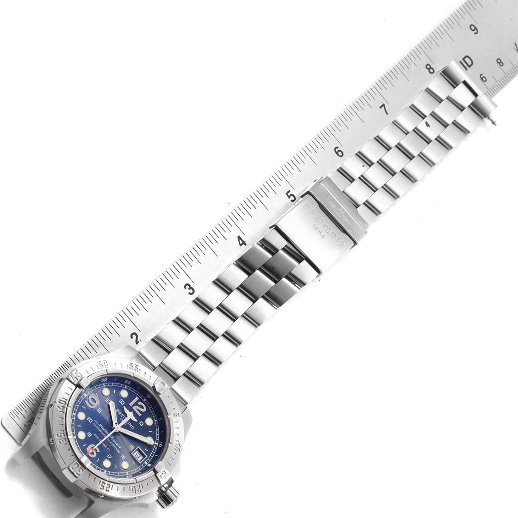 Breitling Superocean Steelfish Blue Dial Mens Watch A17390 Box Papers SwissWatchExpo
