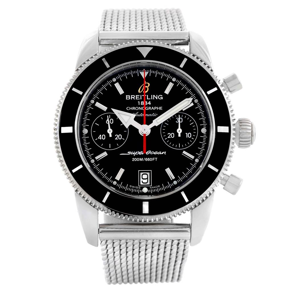 19765 Breitling SuperOcean Heritage 44 Chrono Black Dial Watch A23370 SwissWatchExpo