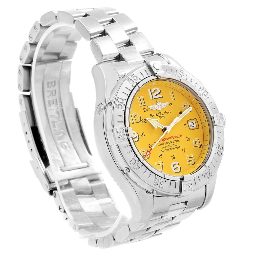 Breitling Superocean Steelfish Yellow Dial Mens Watch A17360 Box Papers SwissWatchExpo
