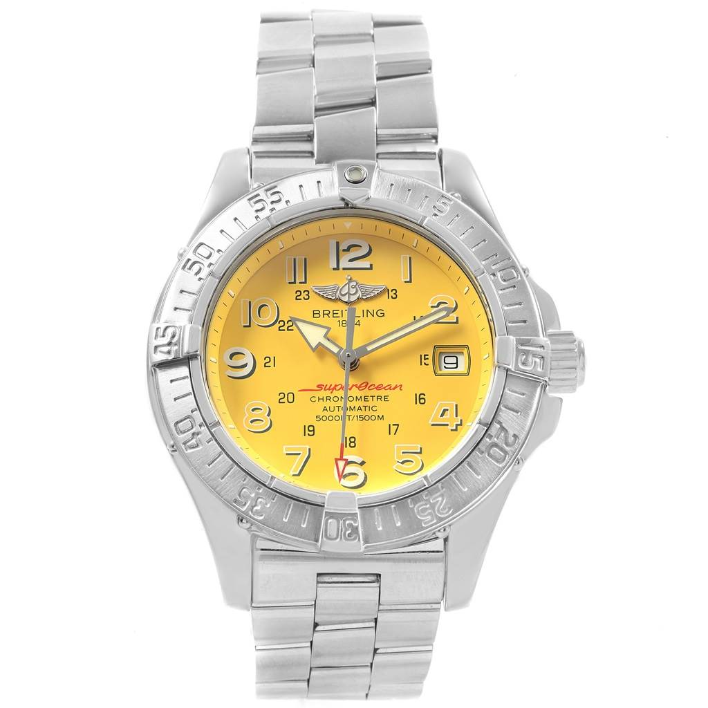 19685 Breitling Superocean Steelfish Yellow Dial Mens Watch A17360 Box Papers SwissWatchExpo