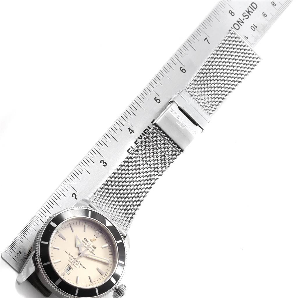 19745 Breitling Superocean Heritage 46 Silver Dial Mesh Bracelet Watch A17320 SwissWatchExpo