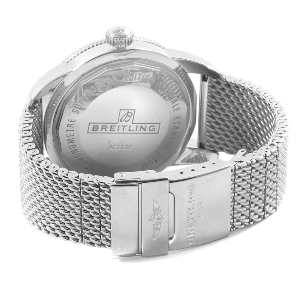 Breitling Superocean Heritage 46 Silver Dial Mesh Bracelet Watch A17320 SwissWatchExpo