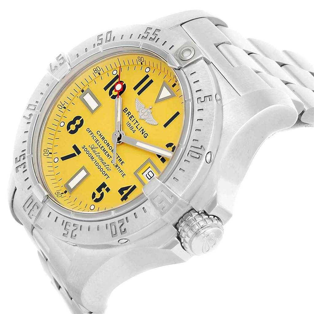 20006 Breitling Aeromarine Avenger Seawolf Yellow Dial Mens Watch A17330 SwissWatchExpo