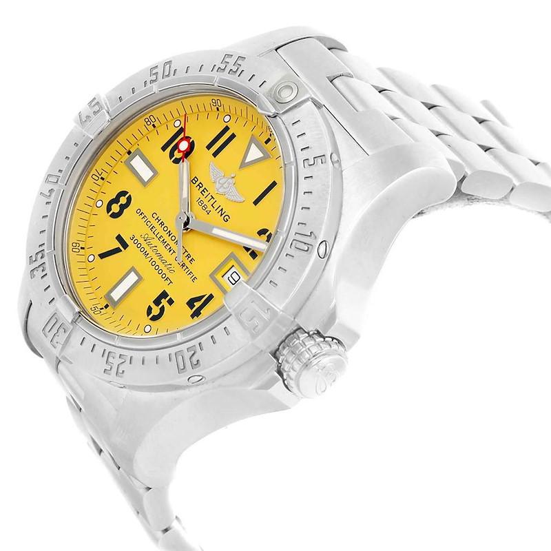 Breitling Aeromarine Avenger Seawolf Yellow Dial Mens Watch A17330 SwissWatchExpo