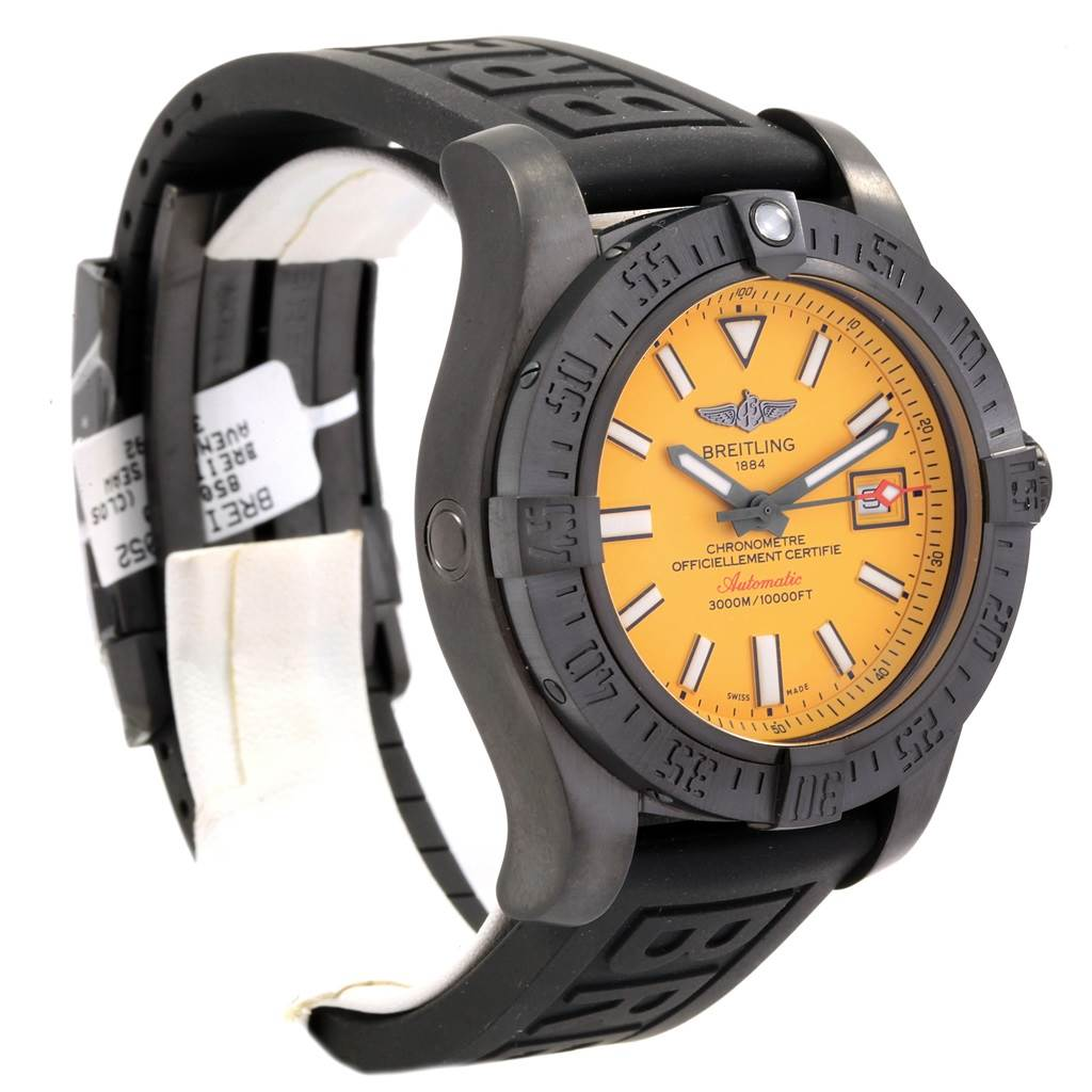 20004 Breitling Avenger II Seawolf Cobra Yellow LE Blacksteel Watch M17331 Unworn SwissWatchExpo