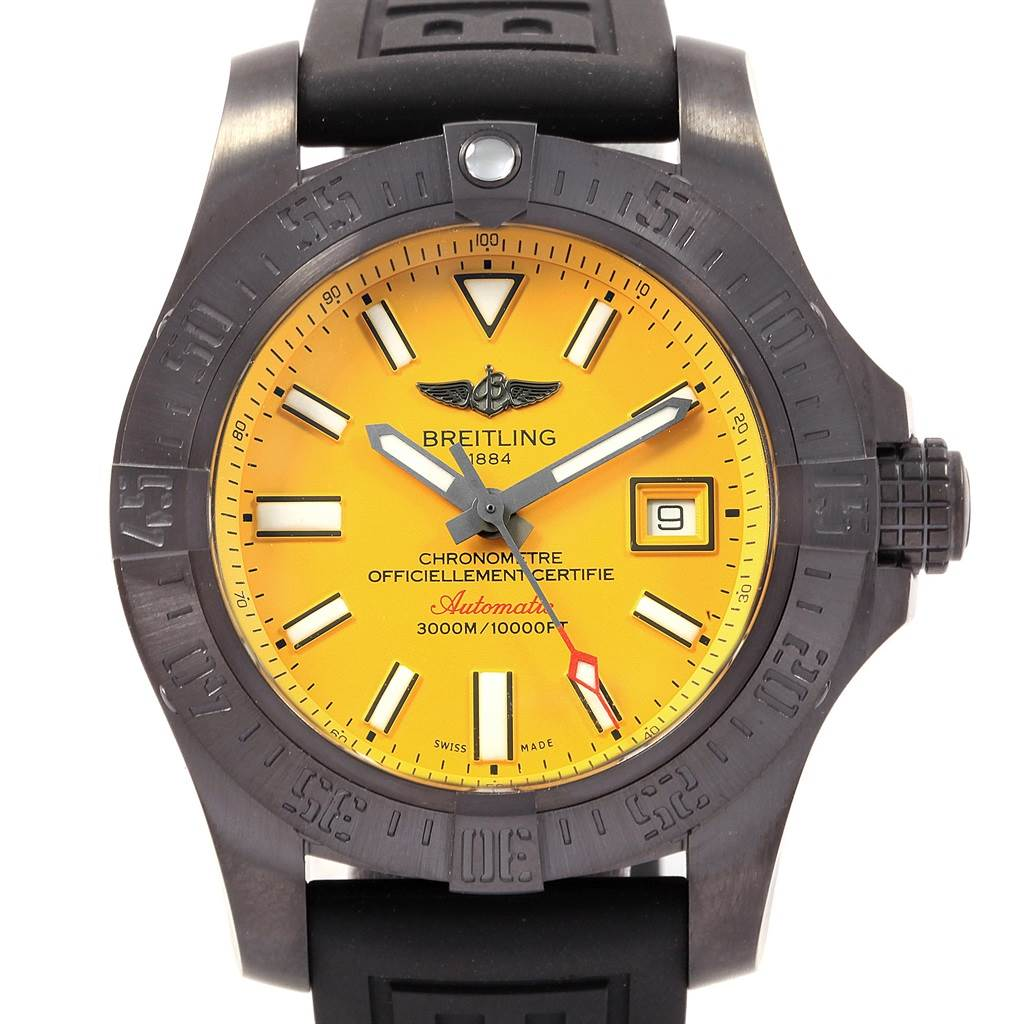 Breitling Avenger II Seawolf Cobra Yellow LE Blacksteel Watch M17331 Unworn SwissWatchExpo