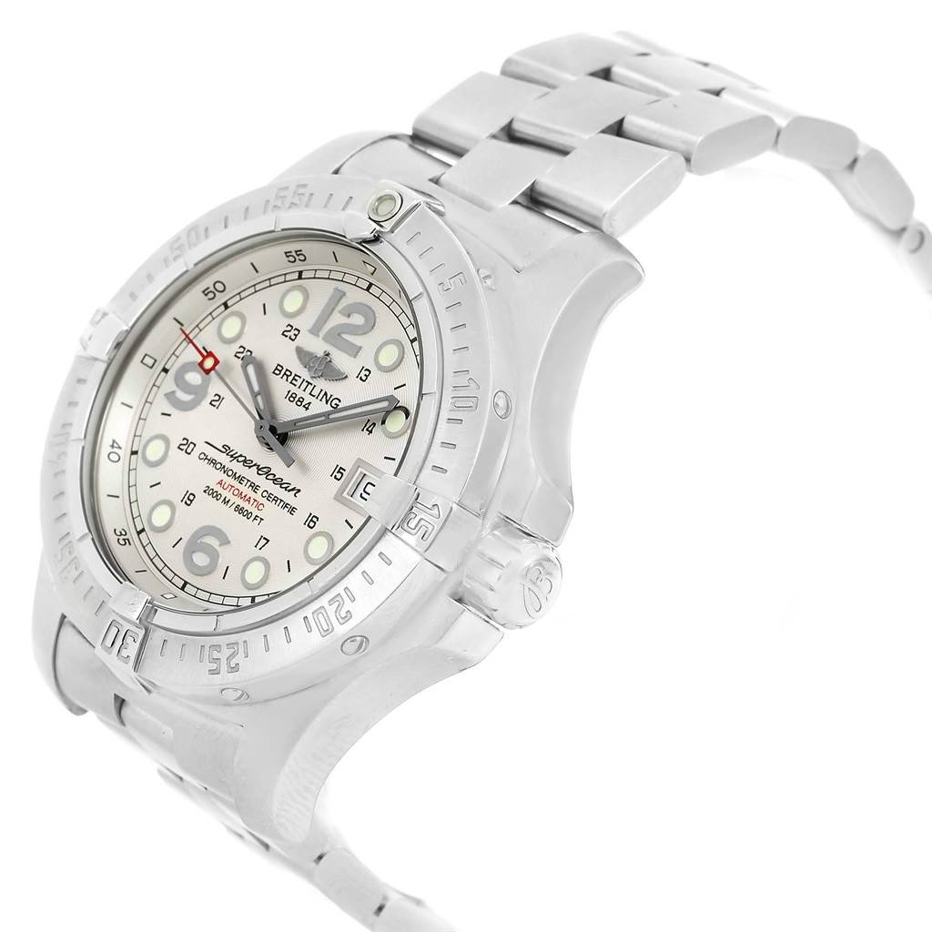 Breitling Superocean Steelfish Silver Dial Mens Watch A17390 Box Papers SwissWatchExpo