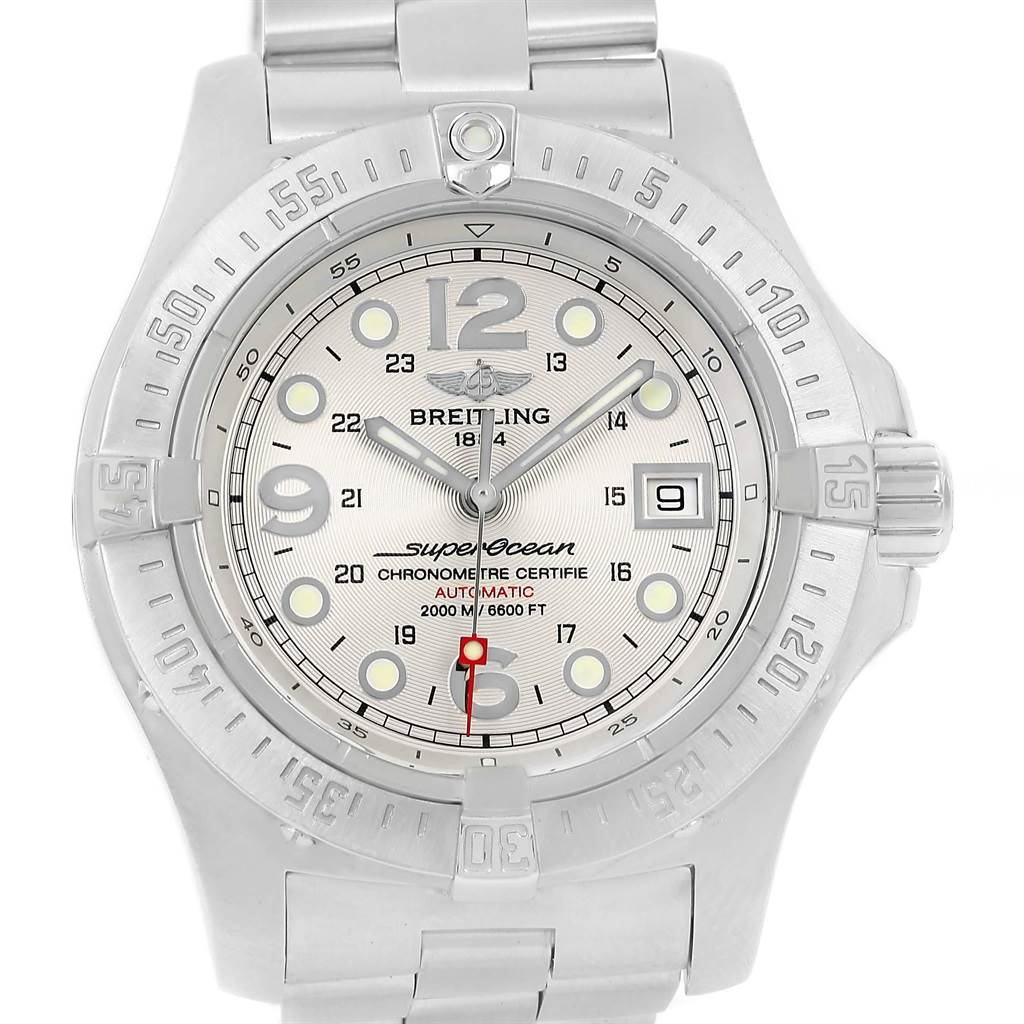20003 Breitling Superocean Steelfish Silver Dial Mens Watch A17390 Box Papers SwissWatchExpo