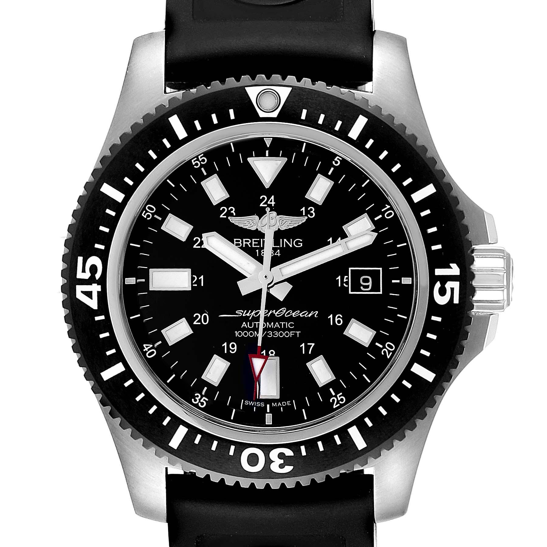 Breitling Aeromarine Superocean Black Dial Rubber Strap Watch Y17393