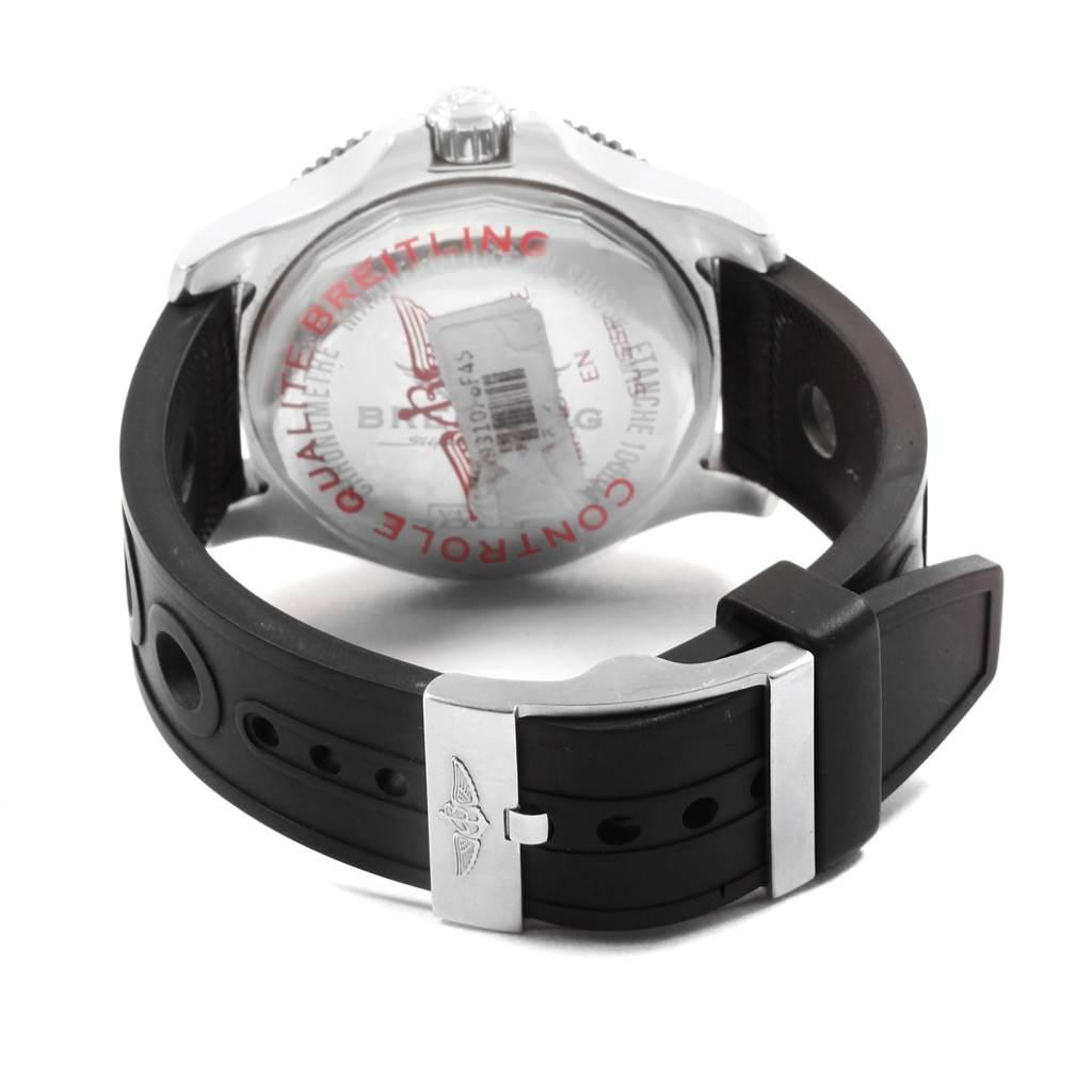 Breitling Aeromarine Superocean Black Dial Rubber Strap Watch Y17393 SwissWatchExpo