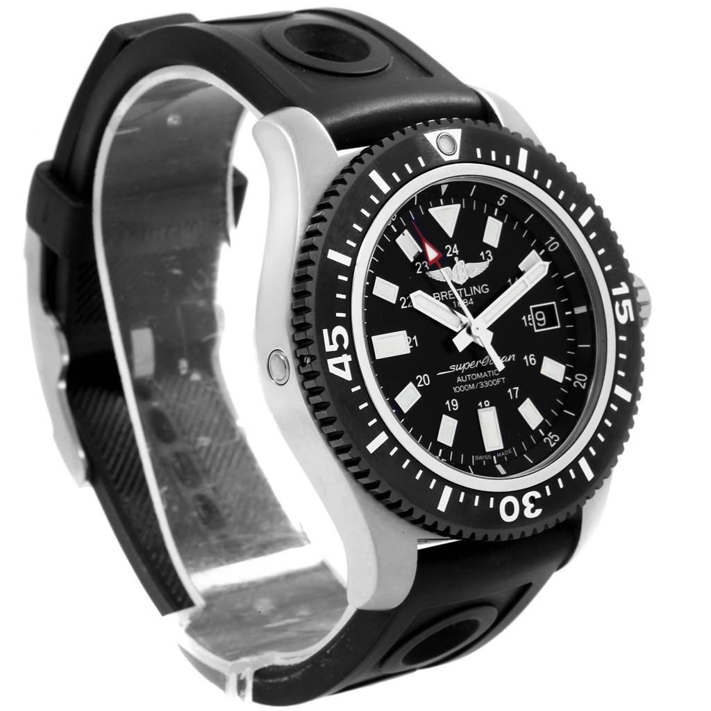 20051 Breitling Aeromarine Superocean Black Dial Rubber Strap Watch Y17393 SwissWatchExpo