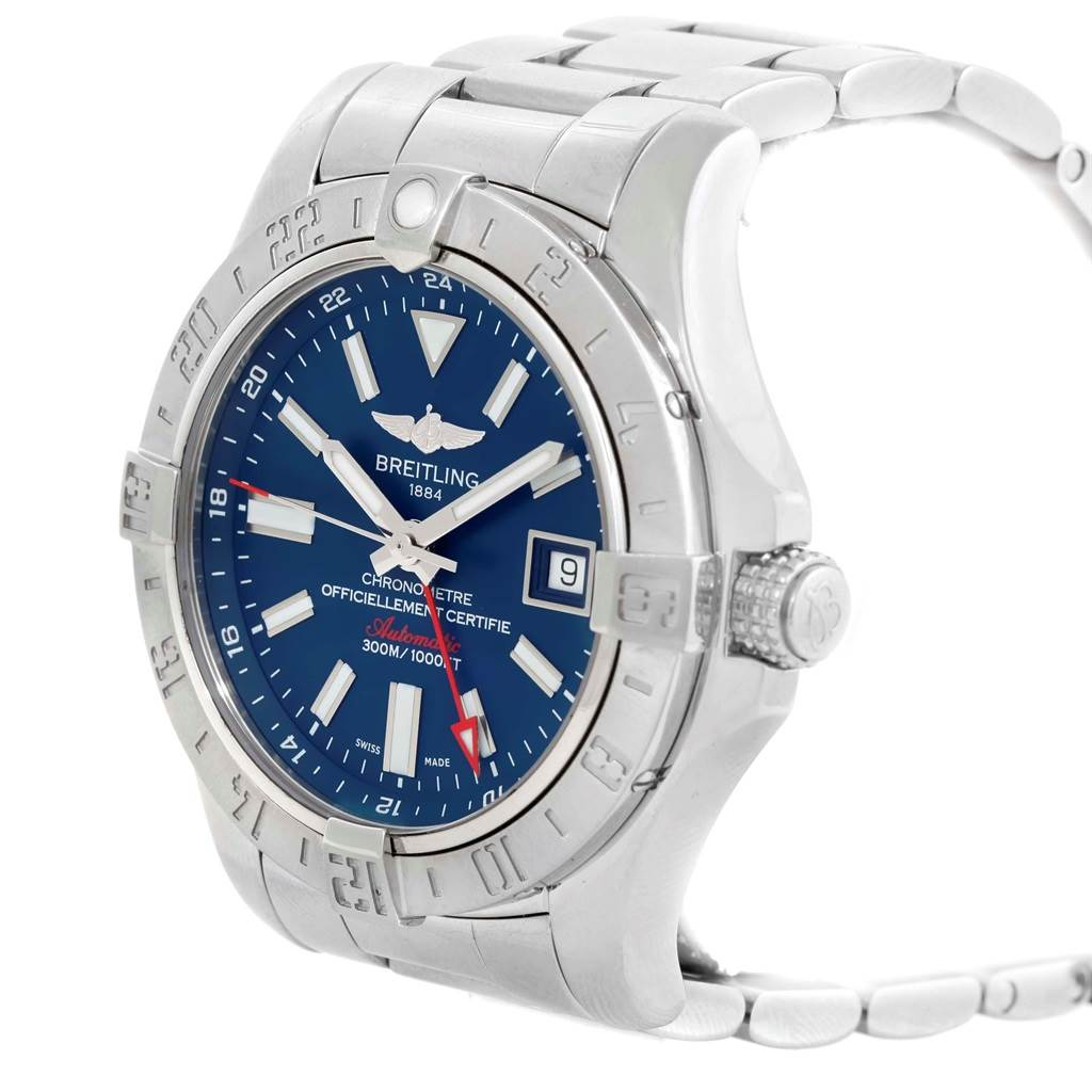 20017 Breitling Aeromarine Avenger II GMT Blue Dial Watch A32390 Box SwissWatchExpo