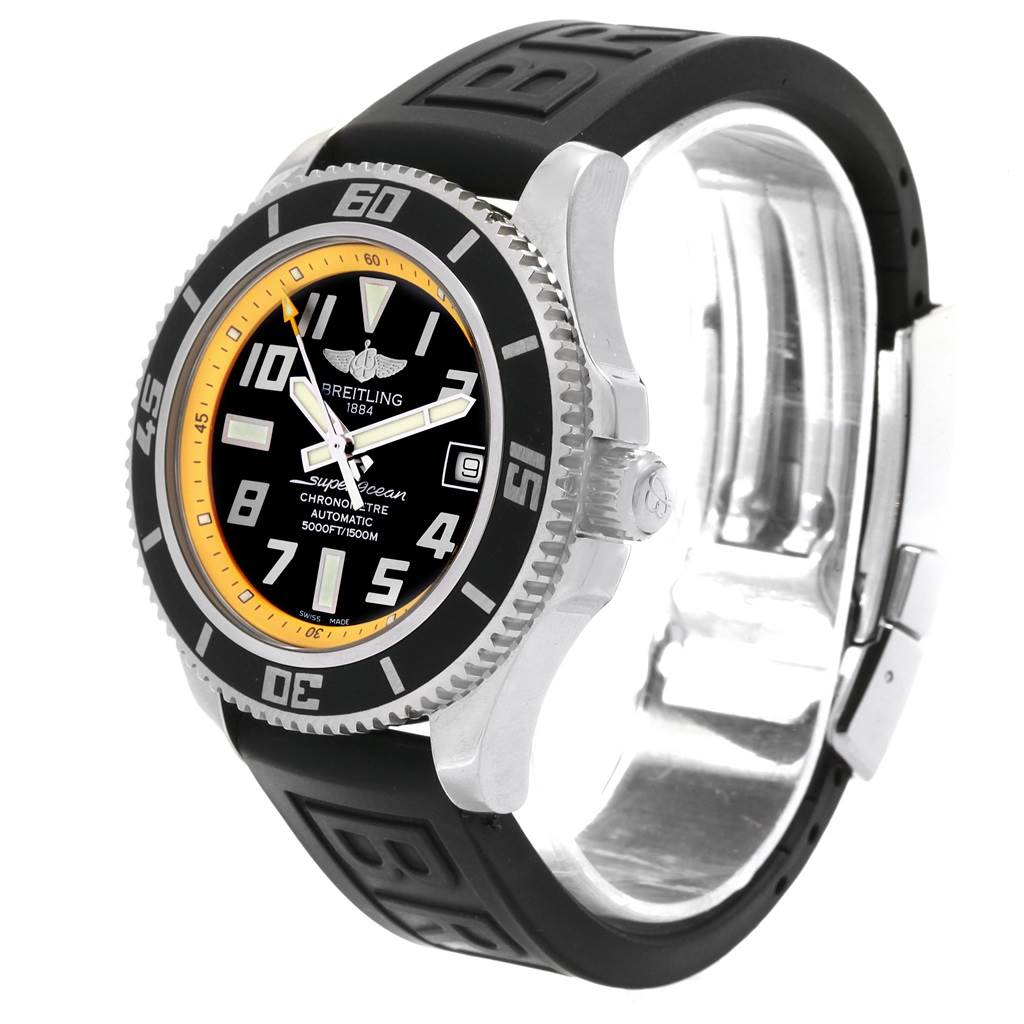 Breitling Superocean 42 Abyss Black Yellow Dial Watch A17364 Box SwissWatchExpo