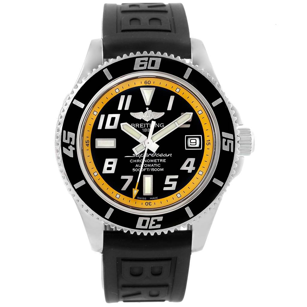 20200 Breitling Superocean 42 Abyss Black Yellow Dial Watch A17364 Box SwissWatchExpo