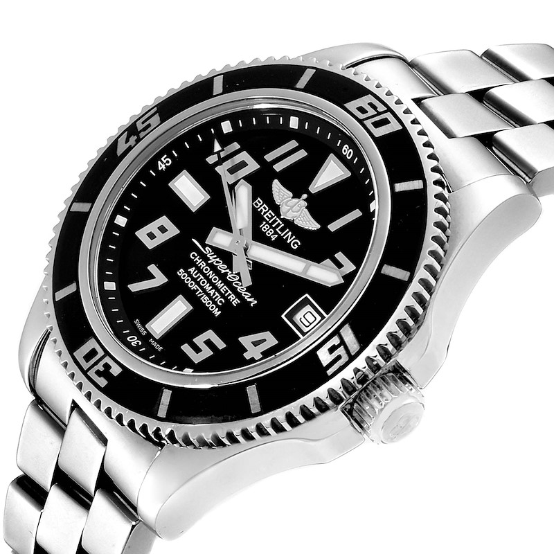 Breitling Superocean 42 Abyss Black Dial Steel Mens Watch A17364 SwissWatchExpo