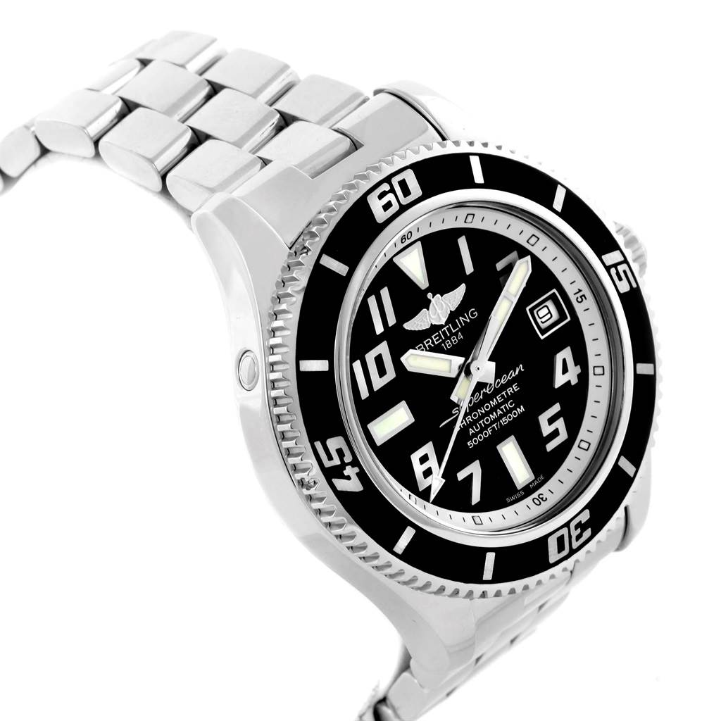 16541 Breitling Superocean 42 Abyss Black Dial Steel Mens Watch A17364 SwissWatchExpo