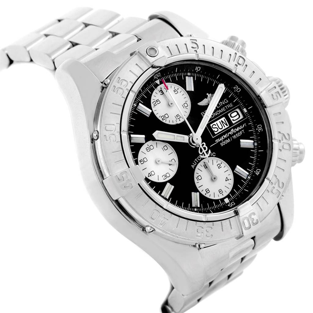 20289 Breitling Aeromarine Superocean Black Dial Mens Watch A13340 Box SwissWatchExpo