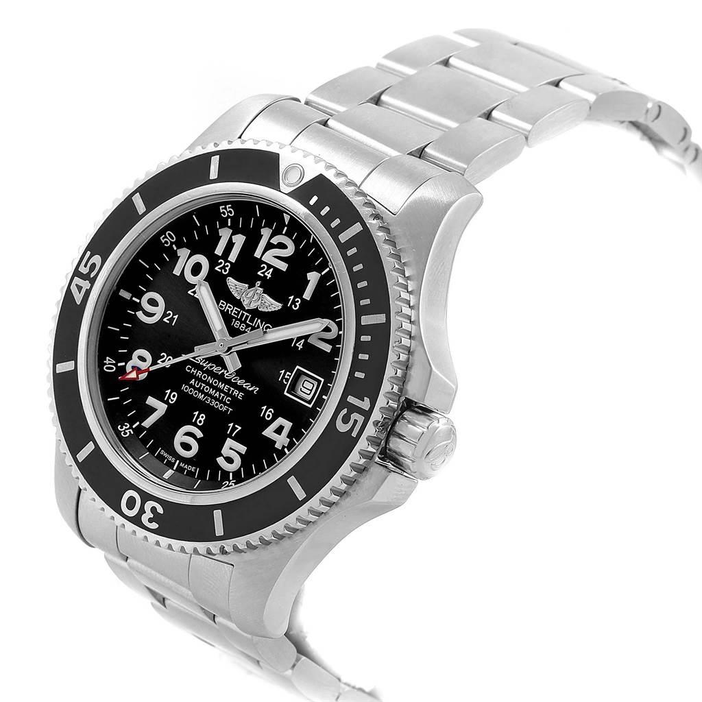 Breitling Superocean II 44 Black Dial Steel Mens Watch A17392 SwissWatchExpo