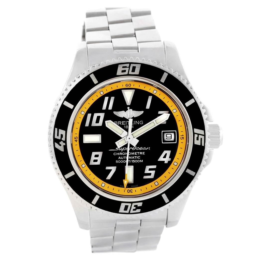 20294 Breitling Superocean 42 Abyss Black Yellow Automatic Mens Watch A17364 SwissWatchExpo