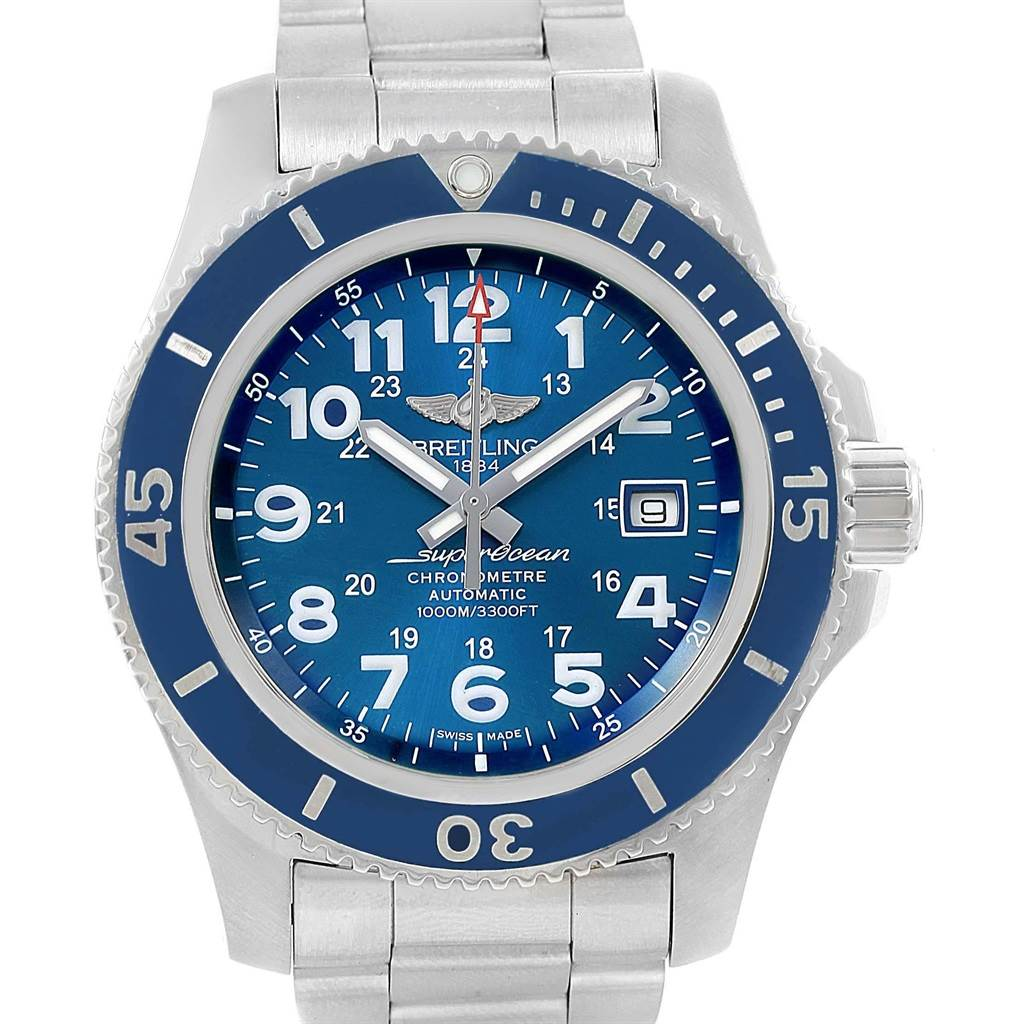 20334 Breitling Superocean II 44 Gun Blue Dial Mens Watch A17392 Box Card SwissWatchExpo