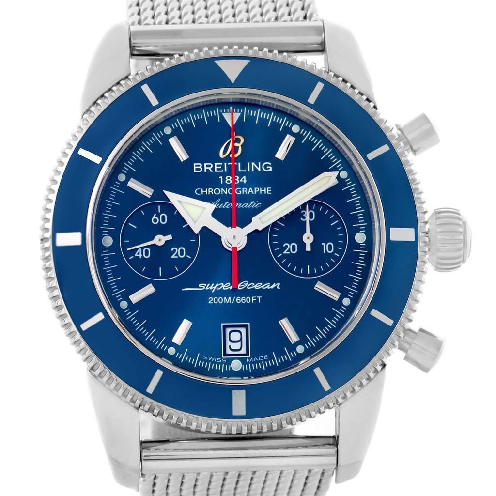 20449 Breitling SuperOcean Heritage 44 Blue Dial Chronograph Watch A23370 SwissWatchExpo