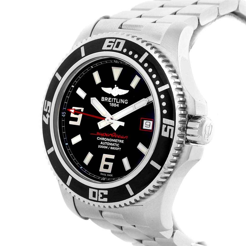 19564 Breitling Aeromarine Superocean 44 Red Hand Watch A17391 Box SwissWatchExpo