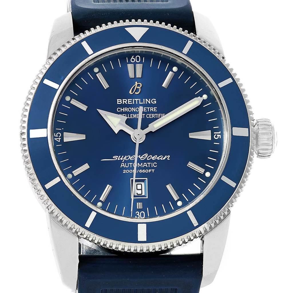 Breitling Superocean Heritage 46 Blue Dial Rubber Strap Watch A17320 SwissWatchExpo