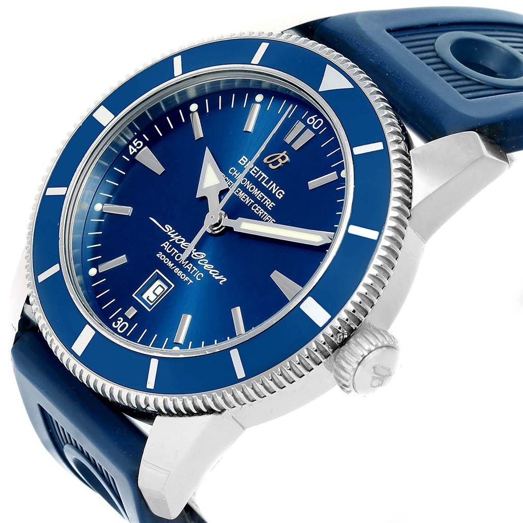 20297 Breitling Superocean Heritage 46 Blue Dial Rubber Strap Watch A17320 SwissWatchExpo