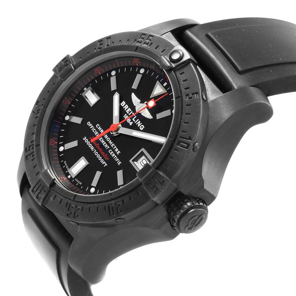 20335 Breitling Avenger Seawolf Code Red Blacksteel LE Watch M17330 Box Papers SwissWatchExpo