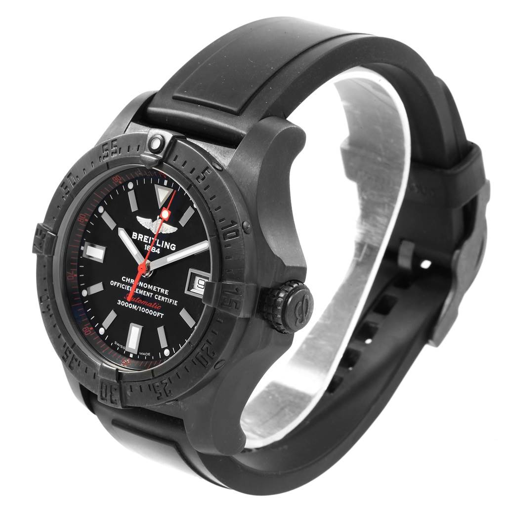 20335 Breitling Avenger Seawolf Code Red Blacksteel Limited Watch M17330 Box Papers SwissWatchExpo