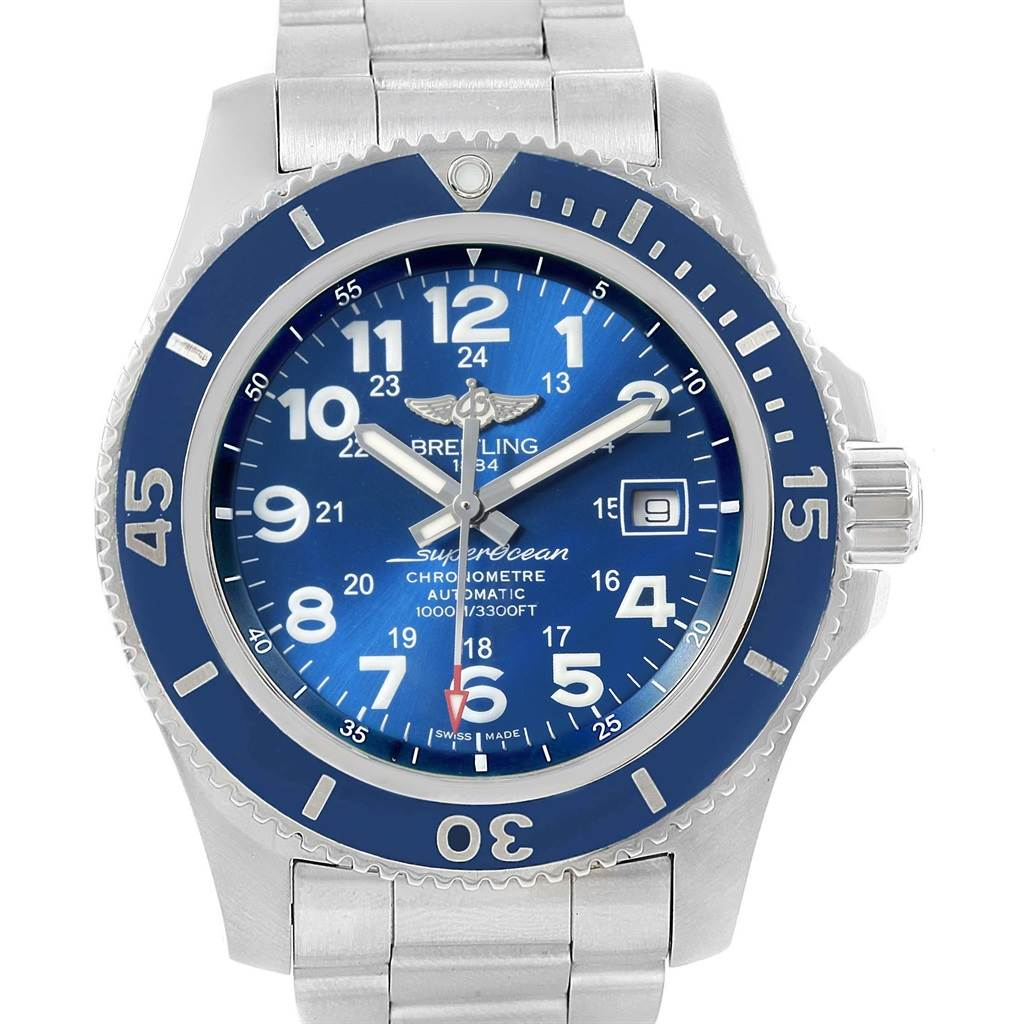 20347 Breitling Superocean II 44 Gun Blue Dial Steel Mens Watch A17392 SwissWatchExpo
