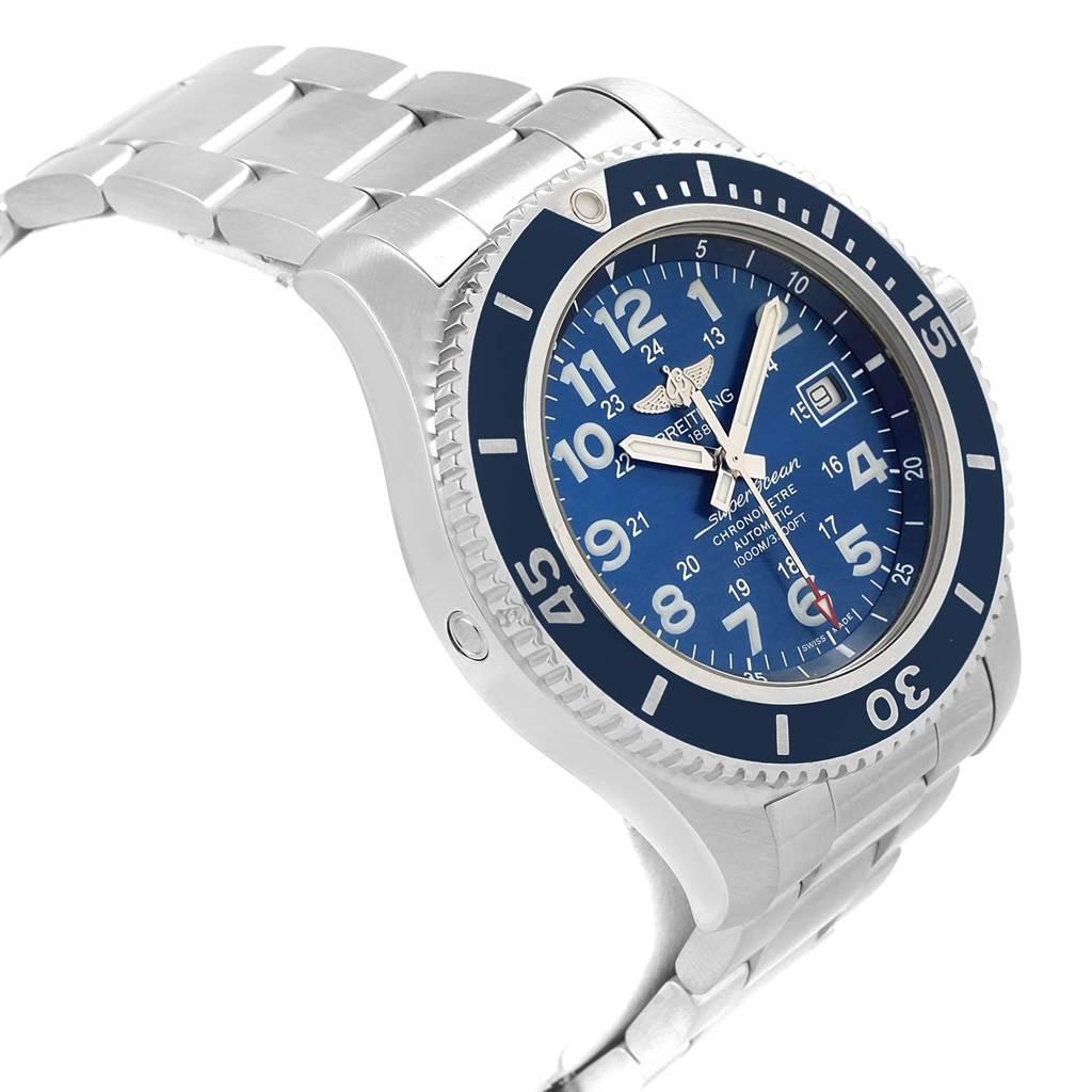 20474 Breitling Superocean II 44 Gun Blue Dial Mens Watch A17392 Box Card SwissWatchExpo