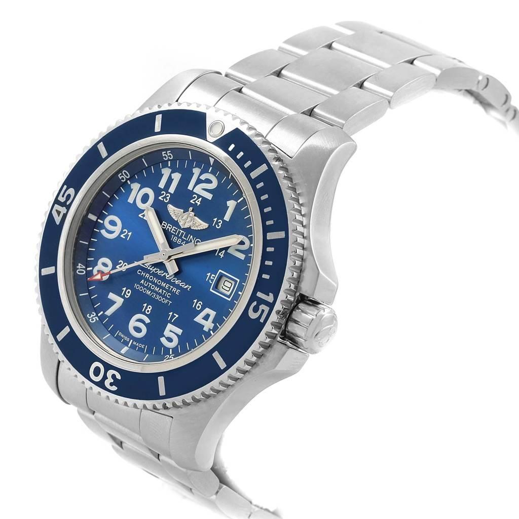 Breitling Superocean II 44 Gun Blue Dial Mens Watch A17392 Box Card SwissWatchExpo
