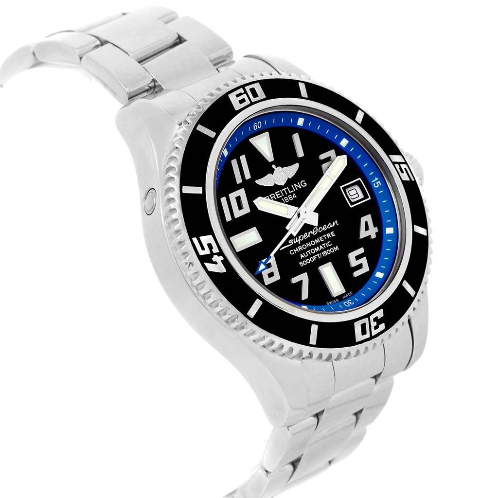20532 Breitling Superocean 42 Abyss Black Blue Dial Watch A17364 Box Papers SwissWatchExpo