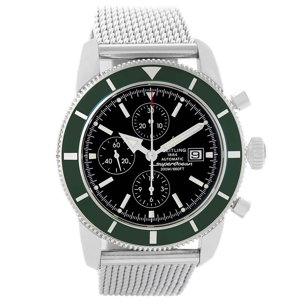 20745 Breitling SuperOcean Heritage Limited Edition Green Bezel Watch A13320 SwissWatchExpo