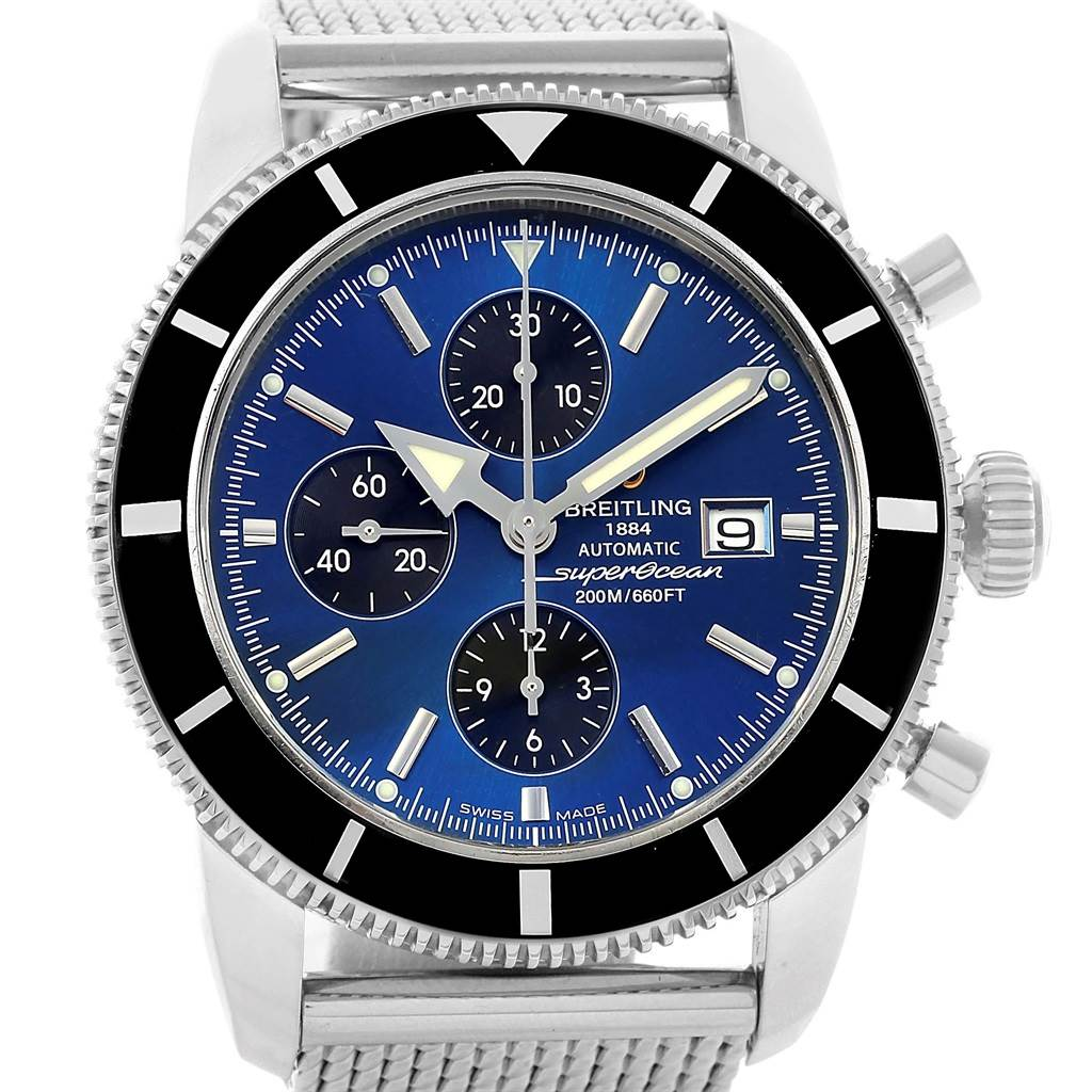 20856 Breitling SuperOcean Heritage Chronograph 46 Blue Dial Watch A13320 SwissWatchExpo