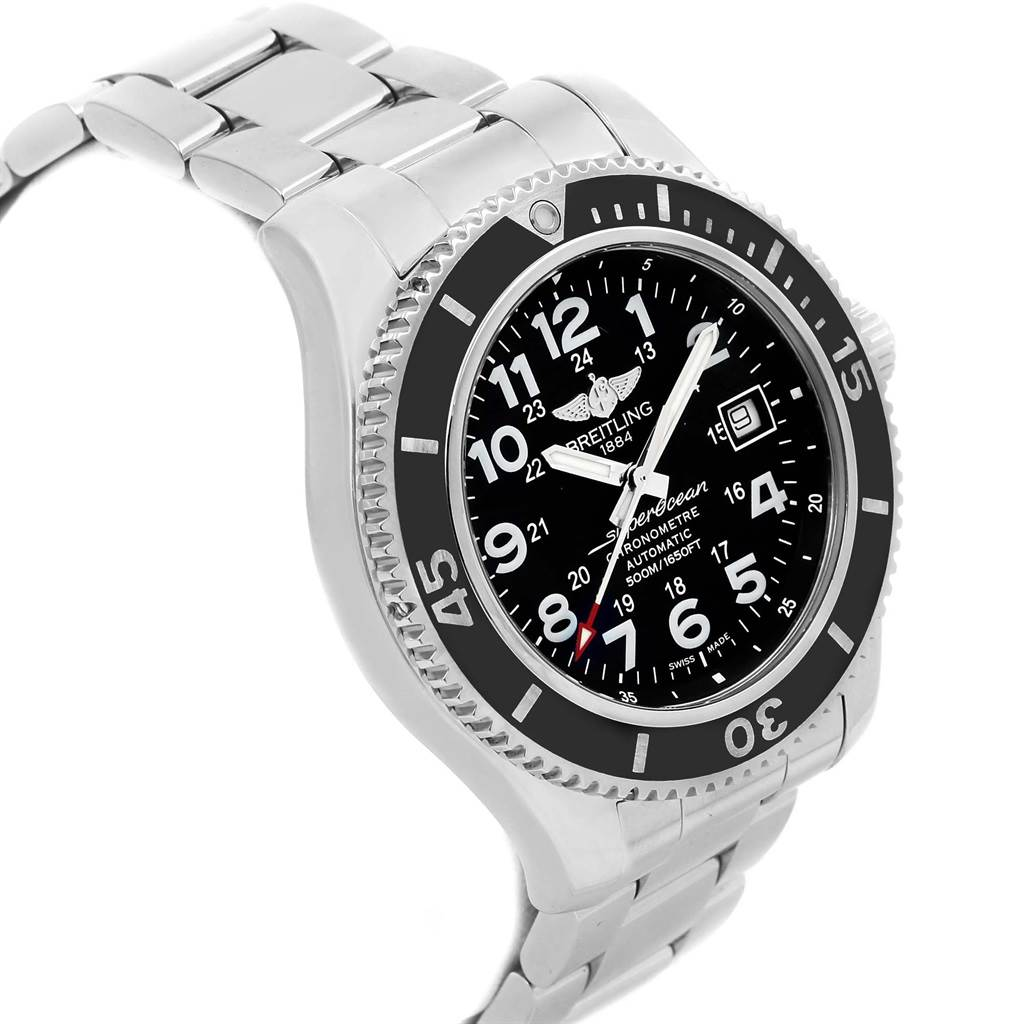 20749 Breitling Superocean II Black Dial Steel Mens Watch A17365 SwissWatchExpo