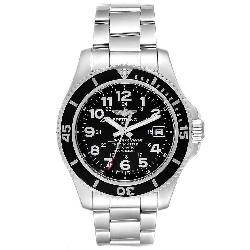 Breitling Superocean II Black Dial Steel Mens Watch A17365 SwissWatchExpo