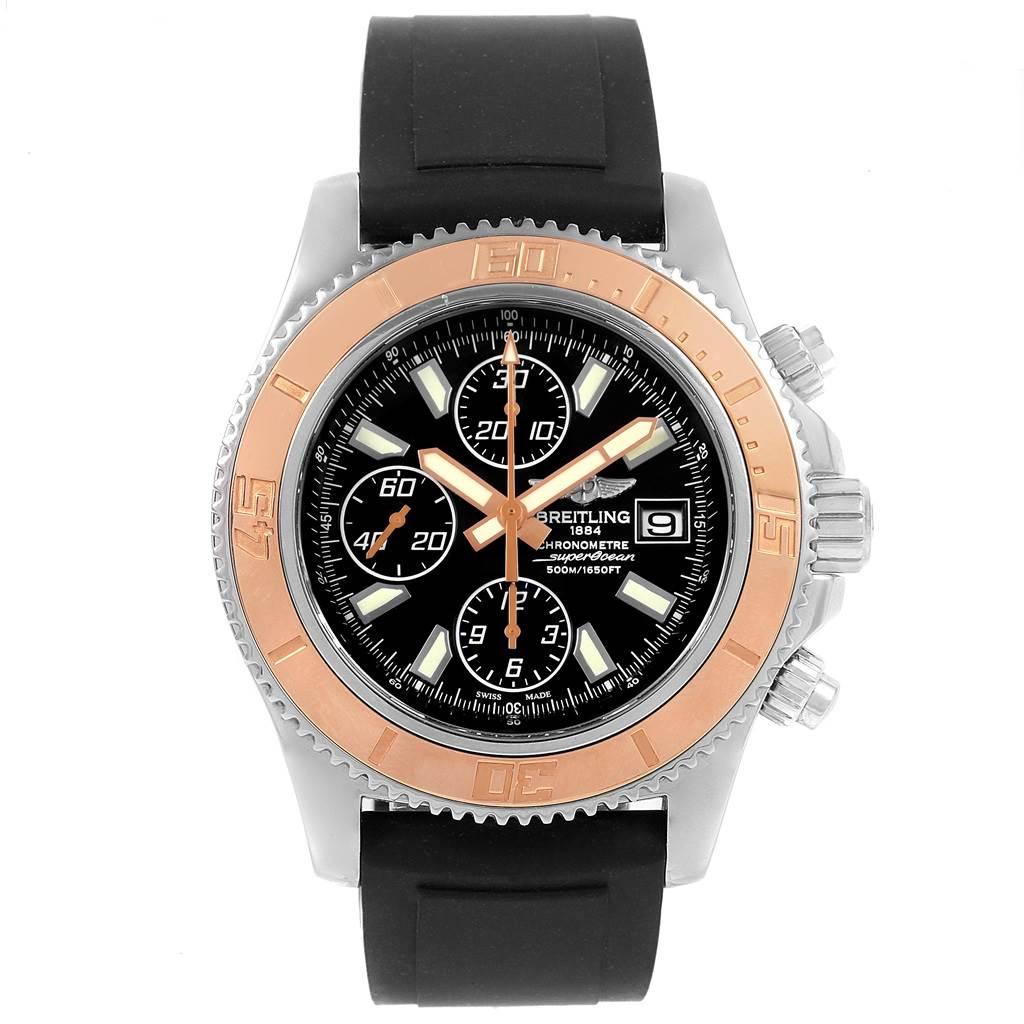 Breitling Aeromarine SuperOcean II Steel Rose Gold Mens Watch C13341 SwissWatchExpo