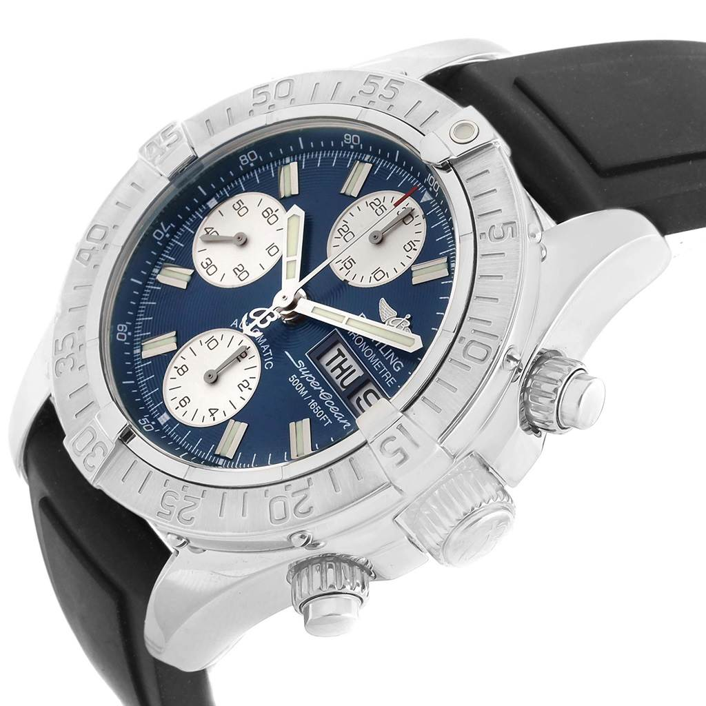20871 Breitling Aeromarine Superocean Rubber Strap Watch A13340 Box Papers SwissWatchExpo