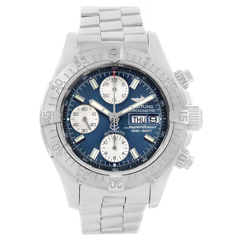 Breitling Aeromarine Superocean Blue Dial Mens Watch A13340 SwissWatchExpo