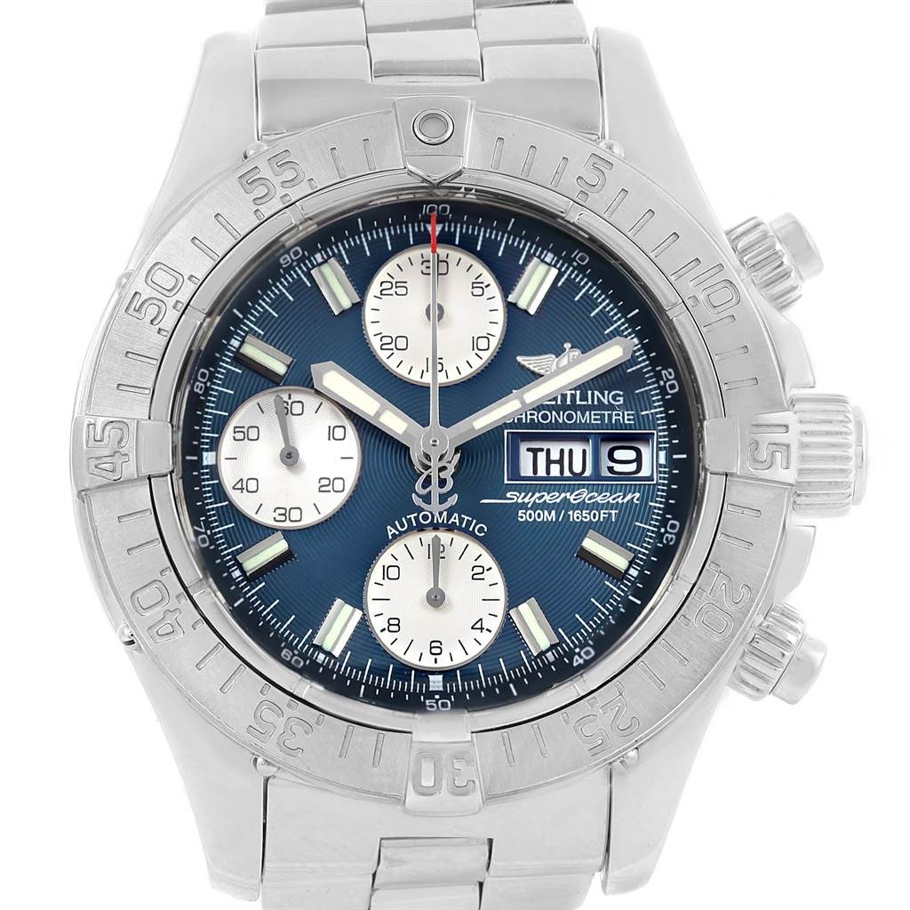 20873 Breitling Aeromarine Superocean Blue Dial Mens Watch A13340 SwissWatchExpo