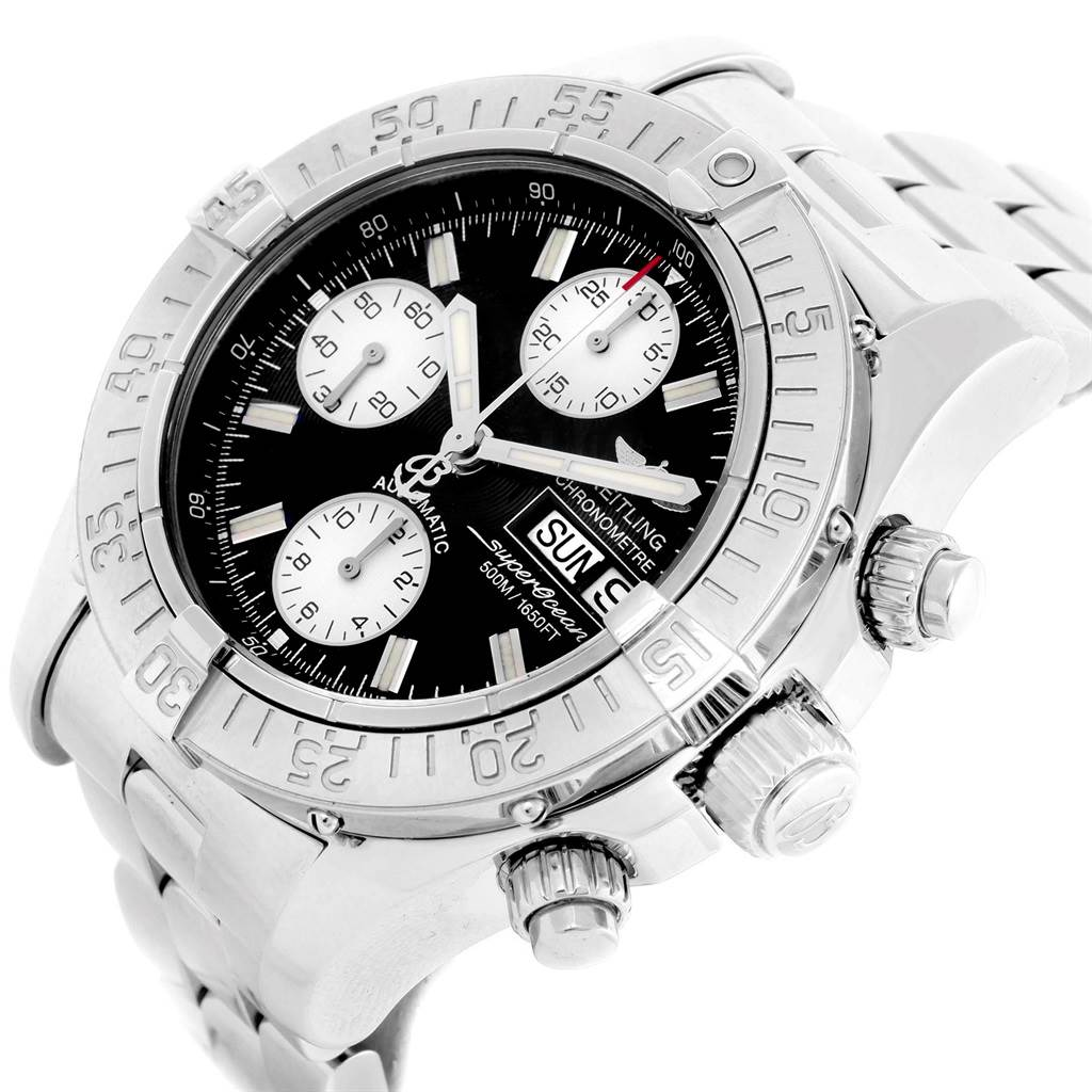 20922 Breitling Aeromarine Superocean Black Dial Mens Watch A13340 Box SwissWatchExpo