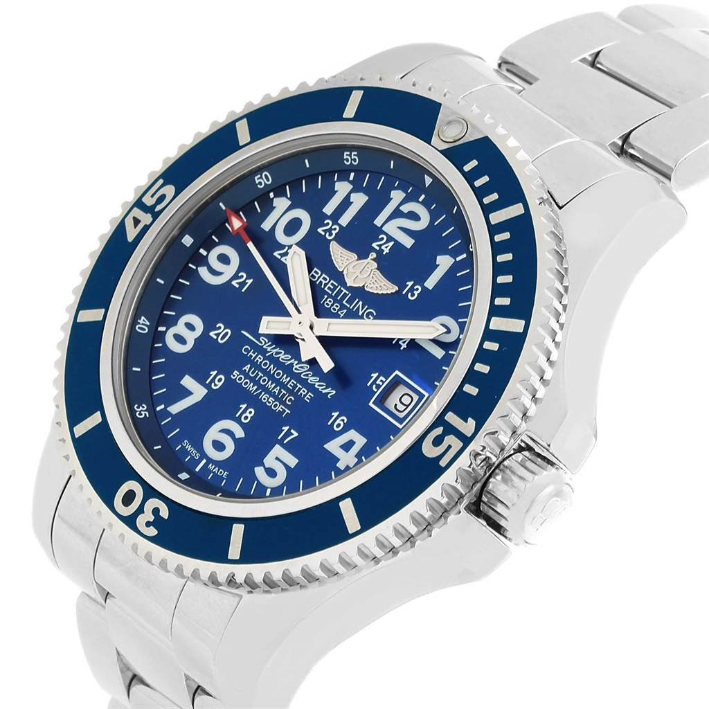 20933 Breitling Superocean II Blue Dial Steel Mens Watch A17365 Box SwissWatchExpo